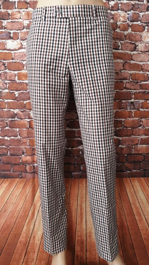 """Burt"" Navy & Burgundy Gingham Trouser"
